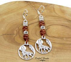 Howling Wolf Earrings, Boho Leather Earrings With Howling Wolf Charm, Howling Wolf Pendant Leather Earrings, Snake Knot Leather Earrings by CinfulBeadCreations on Etsy