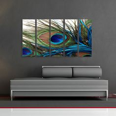 Peacock Feather Oriental Huge Wall Art Decor by CanvasCEO on Etsy, $143.00