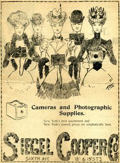 Cameras and photographic supplies: New York's best assortment and New York's lowest prices are emphatically here, Siegel Cooper Co. Advertisement for Siegel Cooper & Co, cameras and photographic supplies, New York. April 10, 1899. From the Charles Rodrigues Playbill Collection.