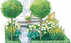 Ein wenig von der Sonne verwöhnter Vorgarten wirkt freundlicher, wenn man Pflanzen mit hellen Blüten verwendet. Unterschiedliche Blatt- und Blütenformen sorgen für Spannung