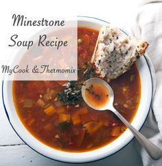 A thermomix and stove top recipe for a delicious minestrone soup Real Food Recipes, Soup Recipes, Cooking Recipes, Healthy Recipes, Thermomix Soup, Parmesan Rind, Stove Top Recipes, Easy Meals, Recipes