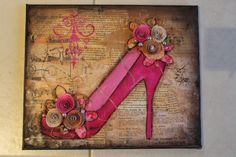 I just finished this mixed media shoe on canvas and sold it straight away! Its made with papers, acrylic paint, pa. Altered Canvas, Altered Art, Ink Illustrations, Mixed Media Artists, Watercolor And Ink, Canvas Artwork, Art Projects, Original Artwork, Mix Media