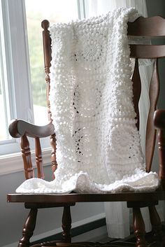 Love the texture in this all white blanket. Follow the link to ravelry to see this free pattern used with color too