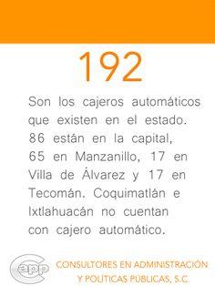 Dato acerca del número de cajeros automáticos, como uno de los servicios financieros principales, que existen en el estado de Colima.