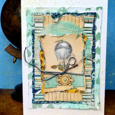 Love the mixed media touches on this card designed by Agnieszka Bellaidea. #BoBunny, #scrapbookcards @bellaideascrap
