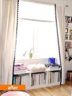 DIY: make a bookshelf a window seat