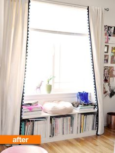 Love the idea of a windowseat/bookshelf in a small space. (that's not what they're talking about in this article, but that's what caught my eye) :P
