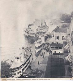 Steamers Riverside, St. Lawrence, Island Wanderer at Alexandria Bay front dock, summer 1914.