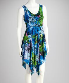 Take a look at this Blue Handkerchief Dress by Yoki on #zulily today!