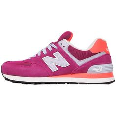 NEW BALANCE 574 Suede & Mesh Sneakers (2 545 UAH) ❤ liked on Polyvore featuring shoes, sneakers, pink, pink shoes, new balance shoes, new balance, suede leather shoes and new balance trainers