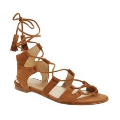 Stuart Weitzman 'Romanflat' Ghillie Sandal ($445) ❤ liked on Polyvore featuring shoes, sandals, amaretto suede, lace up flats, lace up flat shoes, lace up shoes, suede flats and laced sandals