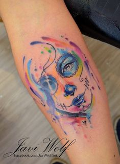 Watercolor Tattoos by Javi Wolf Mexican Skull Tattoos, Sugar Skull Tattoos, Face Tattoos, Wolf Tattoos, Body Art Tattoos, I Tattoo, Sleeve Tattoos, Tatoos, Unique Tattoos