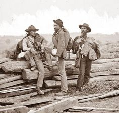 Confederate Pictures. This picture was taken in 1863 on the Gettysburg Battlefield. It shows a picture of three confederate soldiers captured at the Battle of Gettysburg. I love this picture because of the pride still shown by the men. They had been defeated in battle, but their pride was not, and shows through in the picture.