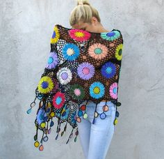 Women Accessories Colorful Crochet shawl on Etsy, $149.00