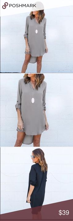 Chiffon mini tunic dress Light weight, comfortable and so perfect for summer this Tunic dress is a staple in your summer wardrobe. You ca. Wear it as a tunic with denim , leggings or a long skirt. Pair it with flats for everyday wear. Add a long chick necklace and heels and you can take it out for dinner. It's versatile and goes from casual to dressy depending on what you match it with. This listing is for the gray one and I have it in Olive or Navy as well Dresses Mini