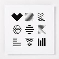 "Lovewell Handmade Print, Love Brooklyn, 12""x12"", White Patterned"