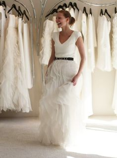 wednesday: stressing about the dress wedding dress.skirt and tshirt style.skirt and tshirt style. Bridal Gowns, Wedding Gowns, Organza Bridal, Wedding Attire, Dress Skirt, Dress Up, Frilly Skirt, Mom Dress, Skirt Belt