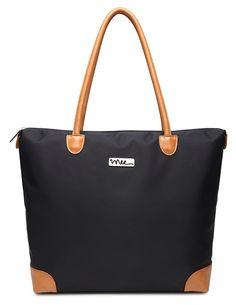 Amazon.com |  NNEE Resistência à Água Nylon Tote Bag & Pocket Múltiplo Design - Preto (Forro Bege) |  Totes de viagem
