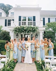 Real Talk: your bridesmaids probably don't want to wear matching dresses. Whether it be differing tastes & styles, skin tones, age, height, body shape or even discrepancies in each bridesmaid's budget, your girls are just probably not on the same page fashion-wise. We're sharing tips for mix & match bridal parties so your bridesmaids can be themselves. Blue Bridesmaids, Wedding Bridesmaids, Wedding Dresses, Patterned Bridesmaid Dresses, Mismatched Bridesmaid Dresses, Bridesmaid Gowns, Prom Dresses, Formal Dresses, Home Wedding