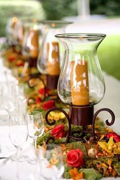 Autumn table decor wedding party decor flowers candles autumn design dinner exterior