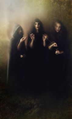 "ellielanecreaturefeature:    ""The Three Fates"" interpretation by DividingME PhotographyModels: Leotie, Ellie Lane and Sidhe Etain"