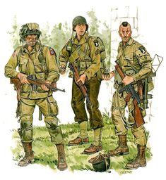 U.S.ARMY - Normandia 1944, (Da SX a DX) 1st Liet., 376th Parachute Field Arty. Bn., -  Cpl., 327th Glider Inf. Regt., Pathfinder Group, 101st Airborne Div. Ron Volstad