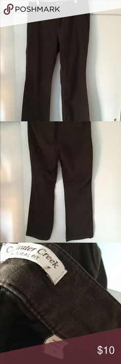 """Brown Denim Trousers Coldwater Creek 16 XL These natural fit pants are a heavy denim, size 16.  Natural fit, 98% cotton, 2% spandex.  Trouser style, back slit pocket.  18.5"""" flat across waist, 12"""" front rise, 32.5"""" inseam.  Zipper and two Tab closure.    Non-smoker.  I am always happy to bundle.  I hope you love my closet! Search for my items by size using my hashtag #thecoralseahorse and your preferred size! Coldwater Creek Jeans Boot Cut"""