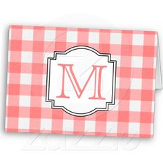 Coral and White Plaid Monogram Card