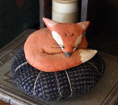 Primitive Fox Pincushion Digital PDF Pattern by rockriverstitches, $8.00