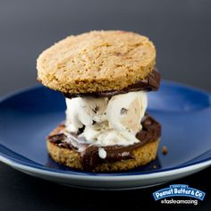 Peanut Butter Cookie Ice Cream Sandwich - Make a yummy ice cream sandwich out of a pair of peanut butter cookies, Dark Chocolate Dreams, and your favorite flavor of ice cream! #tasteamazing