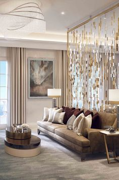 Interior design ideas for a luxury living room decor. On this living room you can see extraordinary furniture design pieces. Decor Home Living Room, Chandelier In Living Room, Living Room Lighting, Interior Design Living Room, Bedroom Lighting, Living Rooms, Interior Livingroom, Usa Living, Contemporary Interior Design