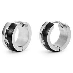Stunning Silver Black CZ Mens Hoop Earrings Stainless Steel | RnBJewellery