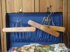 Set of 3 Vintage WOODEN Hangers  Setwell  The Diplomat West Germany by TheThriftShoppe, $18.00