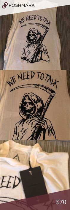 NWT UNIF Grim Reaper Muscle Tank sz S Ivory, new with tags, oversized fit. In typical UNIF fashion, the holes in the shirt are supposed to be there! UNIF Tops Muscle Tees