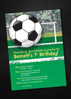 Soccer Birthday Invitations by SassyPartyDesigns on Etsy, $12.00
