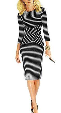 472181c450e8d REPHYLLIS Women 3 4 Sleeve Striped Wear to Work Business ... https
