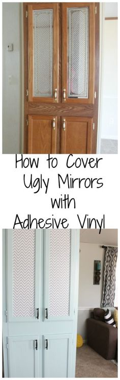 How to Cover Ugly Mirrors with Adhesive Vinyl! This stuff is awesome, and so easy to use. Definitely a post to check out and save!