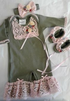 9a3d723e8f1 Infant Vintage Lace Romper Set In Olive   PinkNow in Stock Newborn Girl  Outfits
