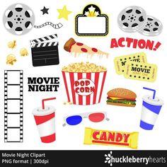 Movie Clipart Night Clip Art Popcorn Cinema Theatre Printable Commercial Use