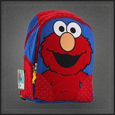 Sac à dos école Elmo de la Rue Sésame. Un très chouette cartable à l'effigie d'Elmo de Sesame Street. Sac école pour enfant sur Muku