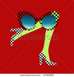 Abstract illustration of female legs in shoes pattern in a square, sunglasses,  green stockings, red background, white and black, vector fashion logo, sale, women shopping, logotype, label, emblem.  - Viktoriya Panasenko