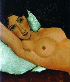 Modigliani, Nudo sdraiato su Cuscino bianco, 1917-1918, Stoccarda, Staatsgalerie