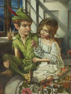 """Sewn to His Shadow"" Peter Pan & Wendy by Artist Heather Theurer turns classic Disney movie moments into breathtaking scenes that are worthy of any museum."