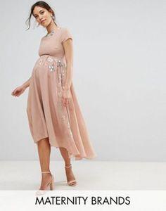 Maya Maternity Embellished Skirt Midi Dress With Hi Low Hem
