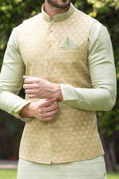 Green Kurta Jacket Set with Light Work - - Wedding Kurta For Men, Wedding Dresses Men Indian, Wedding Dress Men, Waistcoat Men Wedding, Wedding Sherwani, Mens Indian Wear, Indian Groom Wear, Indian Men Fashion, Mens Ethnic Wear
