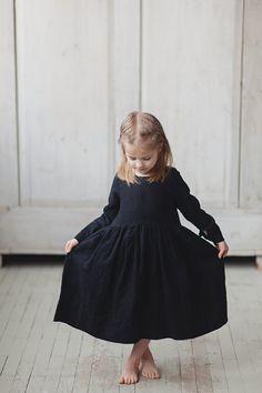 Little Black Linen Dress Smock Dress Kids Fashion by SondeflorShop