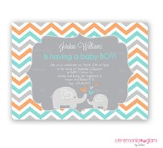 Baby shower boy or girl elephant chevron aqua and by ceremoniaGlam, $9.50