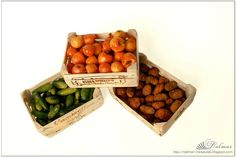 1:12 Scale Boxes with vegetables - apples, potatoes and cucumbers - decorate your doll house, or shop, or scene. vegetables made ​​of polymer clay fimo. Boxes made ​​of wood, artificially aged.