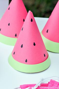 Watermelon themed DIY birthday party hats by Kara's Party Ideas | Kara Allen | KarasPartyIdeas.com #MichaelsMakers You're one in a melon! 2