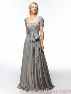 A-line Square Floor-length Chiffon Mother of Bridal Dress